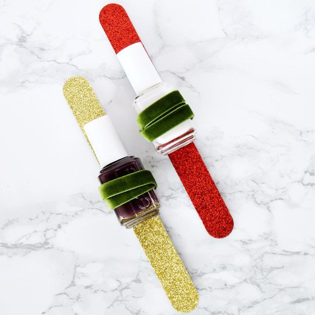 Nail polish + a festive nail file = a cute gift for your friend who always has ~fancy~ nails