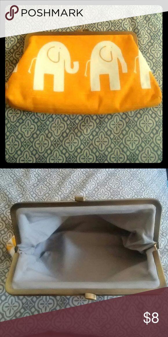 Elephant print clutch Pretty yellow clutch Bags Clutches & Wristlets