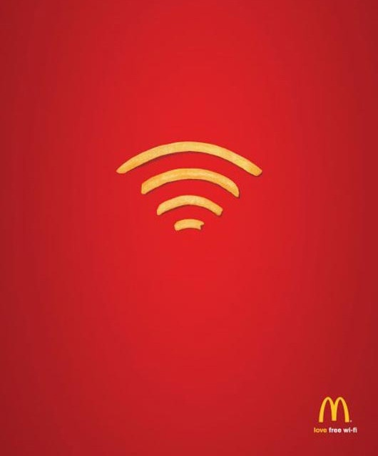 3.  When communicating with your audience, graphic design doesn't always need text, a simple image design can speak for itself, like this universal symbol that signifies wi-fi with the very recognizable colors of yellow and red that McDonalds is so famous for.