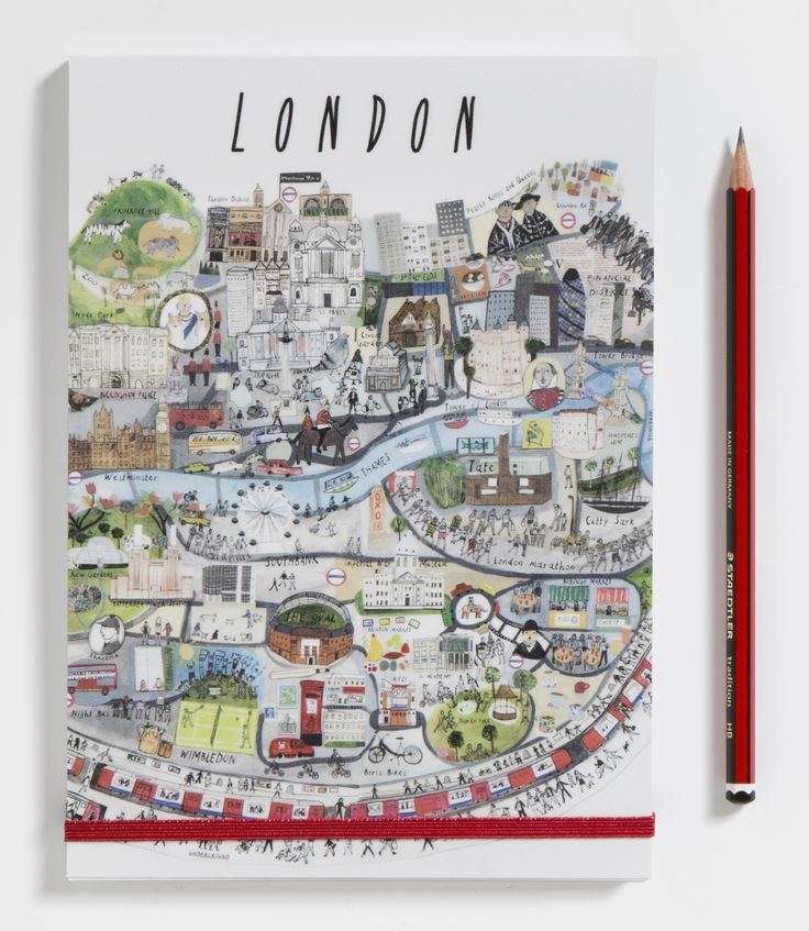 Handy A5 size notebook with elastic strap closure. Keep notes on your London life.