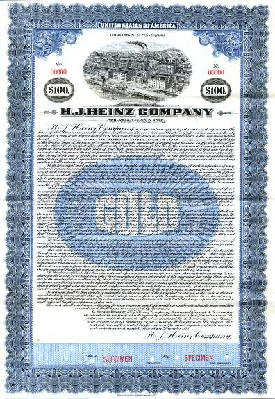 H.J. Heinz Company Gold Bond - Pennsylvania 1920