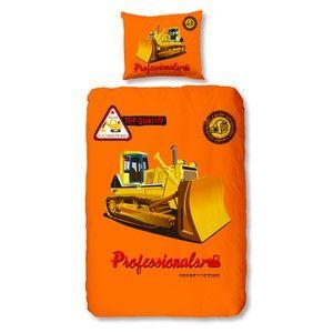 Dětské povlečení Muller Textiel Buldozer Orange, 140x200 cm