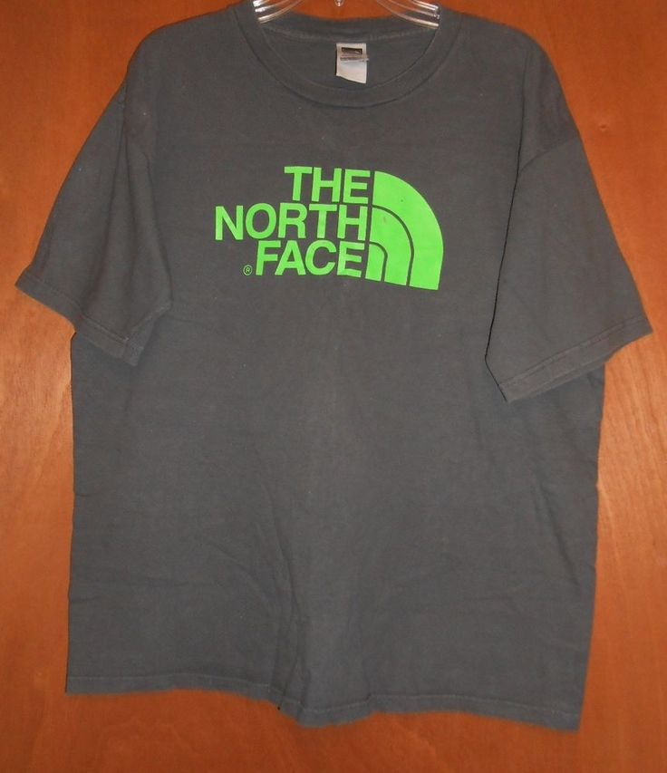THE NORTH FACE T-SHIRT MEN'S SIZE LARGE Short slv GRAY / GREEN DOME LOGO Cotton #TheNorthFace #BasicTee