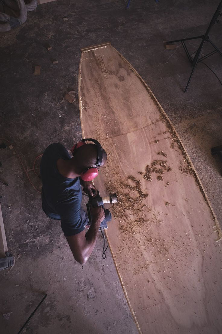 Deppen custom wood canoe paddles - A View From The Jarvis Boards Studio Of Us Shaping A Wooden Paddle Board