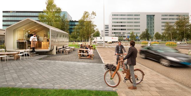 SCHIPHOL CBD * Corporate with a twist: corporate office buildings, pop-up spaces and wooden bikes go hand in hand.