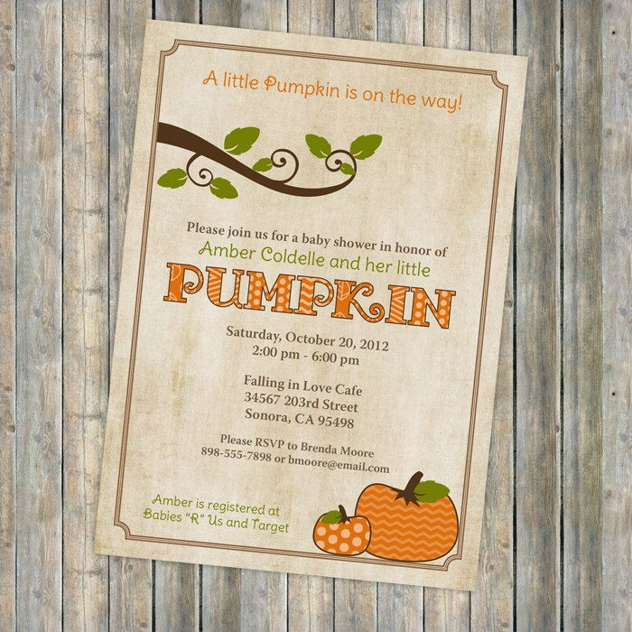pumpkin baby shower invitations, baby shower invitation with pumpkins, Digital, Printable file by freshlysqueezedcards on Etsy https://www.etsy.com/listing/108357449/pumpkin-baby-shower-invitations-baby