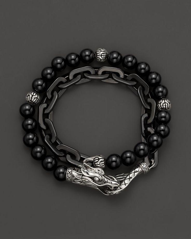 John Hardy Men S Naga Double Wrap Bracelet With Black Onyx