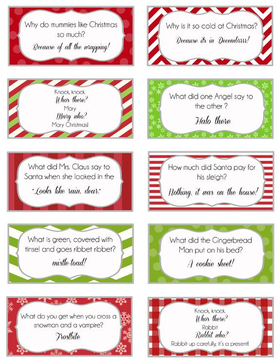 Cute Christmas jokes for lunch boxes.