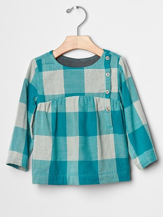Plaid empire button top Product Image