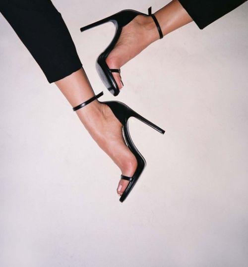 Black patent strap heels