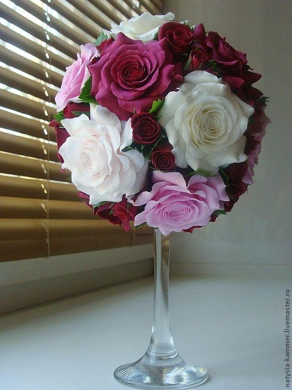 """Купить Круглый букет """"Мамочке"""" - бордовый, белый, розовый, букет роз, круглый букет"""