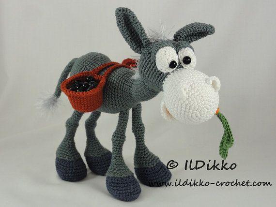 Amigurumi Crochet Pattern Dusty the Donkey por IlDikko en Etsy