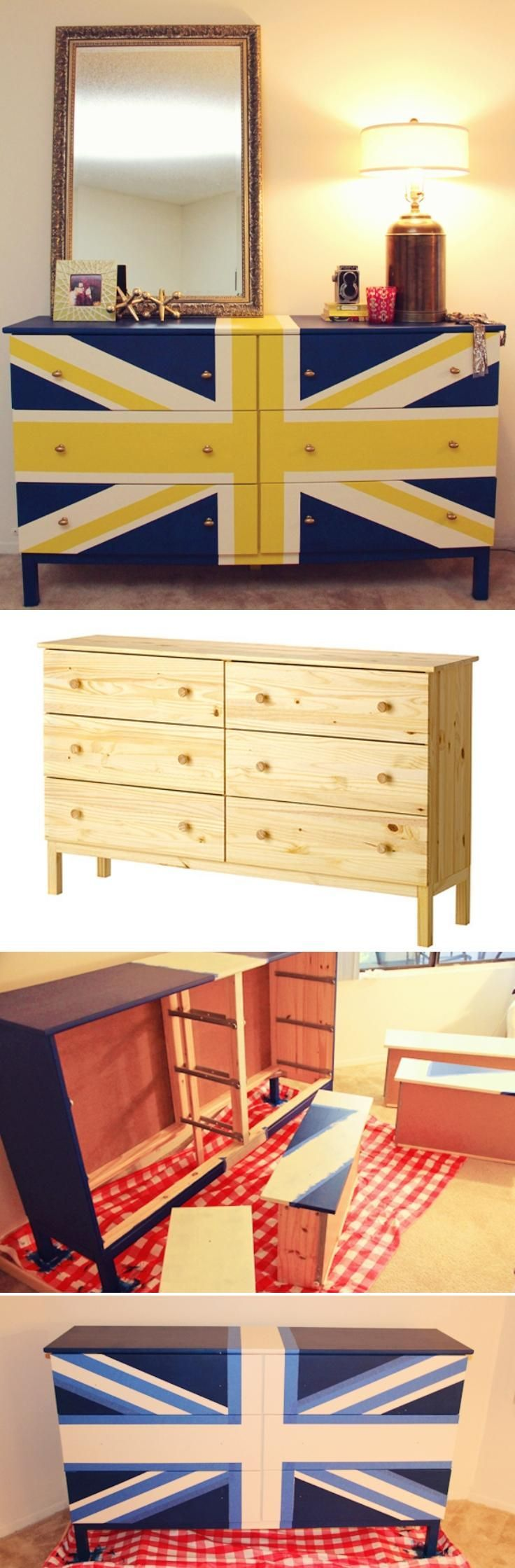 Personalized Swedish Flag DIY Union Jack Dresser