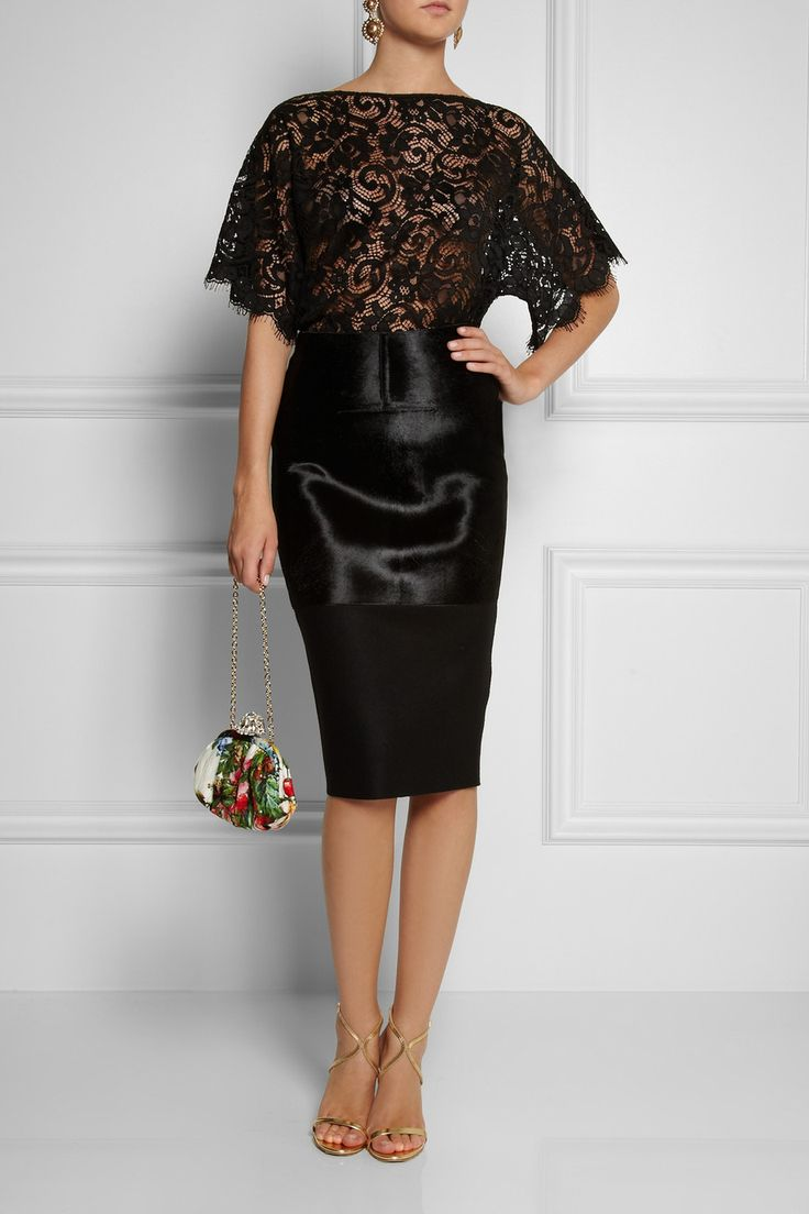 Dolce & Gabbana Lace Top, Oscar de la Renta earrings, Victoria Beckham skirt, Aquazzura shoes, Dolce & Gabbanaclutch.