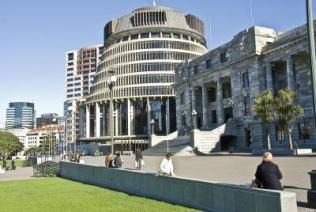 The Parliament Buildings, dubbed the Beehive, in New Zealand's capital city, Wellington.