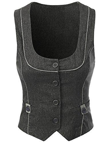 Doublju Women Wear to Work Button Detailed Stretchy Fabric Vest