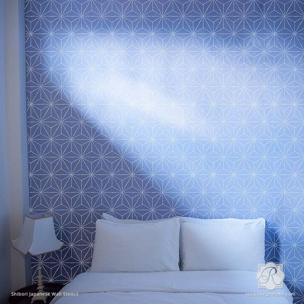 Wall Stencils Royal Design : Shibori japanese wall stencil studios asian decor