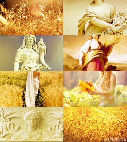 """Demeter (Δημήτηρ) → Demeter, identified with the Roman goddess Ceres, is the goddess of the harvest, who presided over grains and the fertility of the earth. She presided also over the sanctity of marriage, the sacred law, and the cycle of life and death. """"Goddess of seed, of fruits abundant, fair, Harvest and threshing, are thy constant care; Who dwell'st in Eleusina's seats retir'd, Lovely, delightful queen, by all desir'd""""."""