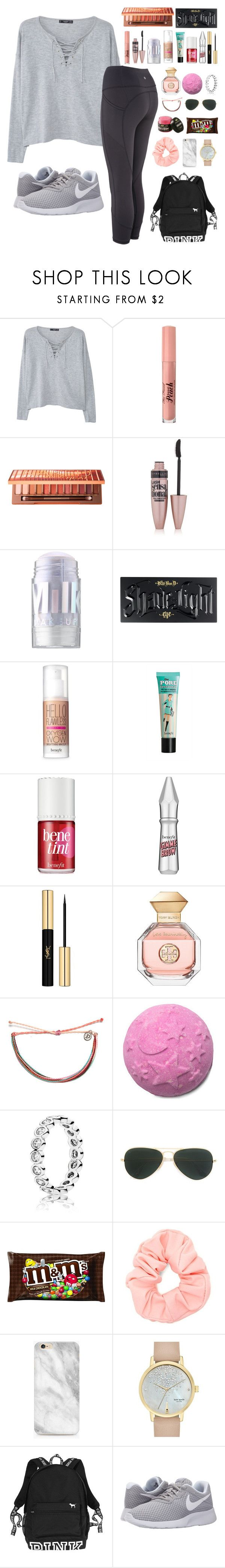 """""""Untitled #116"""" by laurenek006 ❤ liked on Polyvore featuring MANGO, Too Faced Cosmetics, Urban Decay, Maybelline, MILK MAKEUP, Kat Von D, Benefit, Yves Saint Laurent, Tory Burch and Pura Vida"""