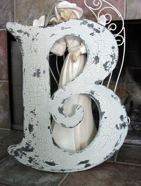 LETTER B 2 ft tall ANY LETTER A  Z Vintage by thebackporchshoppe, $41.95: Cottages Signs, Ft Tall, Tall Vintage, Shabby Chic, Vintage Wooden, Cottage Signs, Wedding Guest Books, Vintage Style, Shabby Cottages