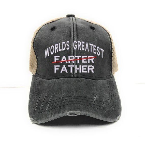 Custom Hat World S Greatest Father Trucker Hat Father S Day Distressed Men Baseball Cap Custom Trucker Hats Hat World Funny Baseball Hat