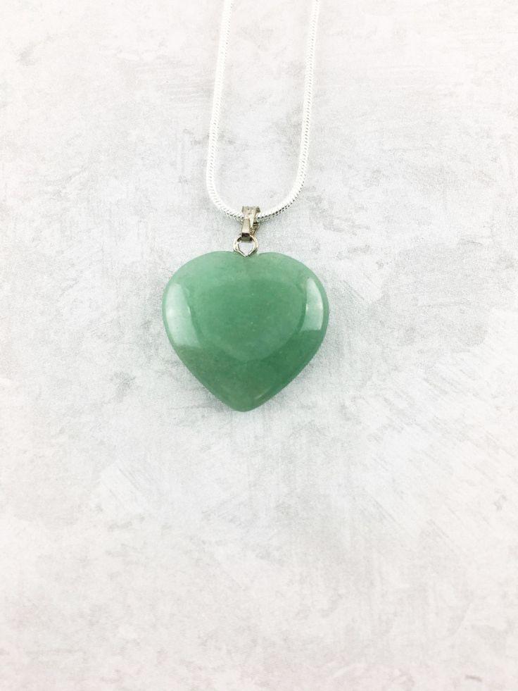 Green Aventurine Necklace, Green Aventurine Heart Pendant, Green Aventurine Pendant Necklace, Gemstone Necklace, Valentines Day Gifts