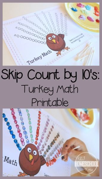FREE Turkey Counting by 10's worksheet using q-tips. This fun, unique kindergarten math worksheets help kids practice counting to 100 in Novembers. Perfect for math centers, thanksgiving units, educational activities, homeschool