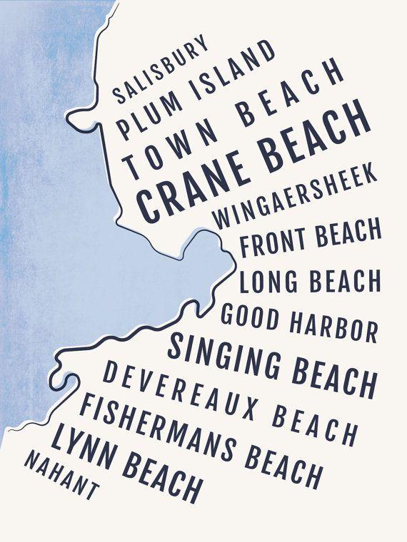 New England Beach Print, Boston North Shore Beaches Art, Massachusetts  Nautical Decor, Beach
