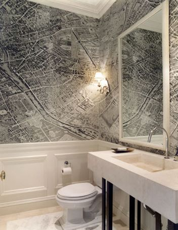 Gauthier Stacy - bathrooms - vintage, map, wallpaper, chair rail, wainscoting, concrete, sink, vintage world map wallpaper, vintage map wall...