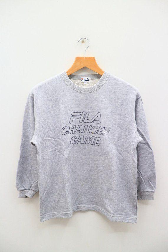 aab0a1b079dfc Vintage FILA Change The Game Big Logo Big Spell Sportswear Gray ...