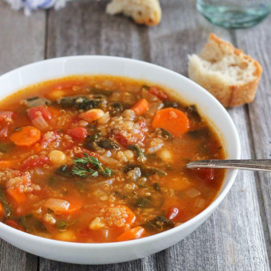 Quinoa chickpea spinach soup is a deliciously healthy way to get dinner on the table.