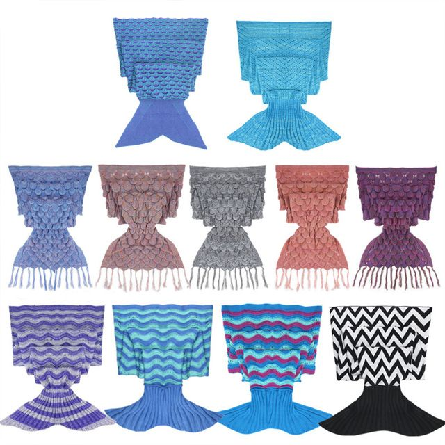 Adultes Fabriqués À La Main Crochet Tricoté Sirène Queue Vêtements de Loisirs Sac De Couchage Main Crochet Anti-Peluche Portable Loisirs Porter