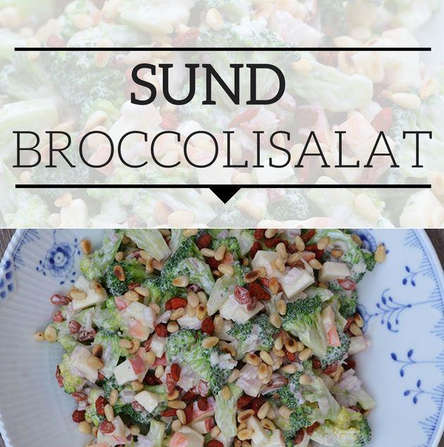 Pragtfuld broccolisalat i en sund variant med sprøde pinjekerner og en glimrende skyrdressing.