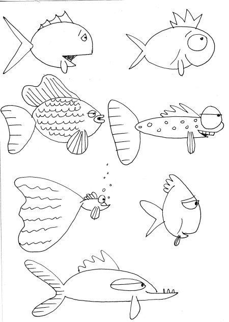 fish line drawing Hier kannst du Fische nachzeichnen.