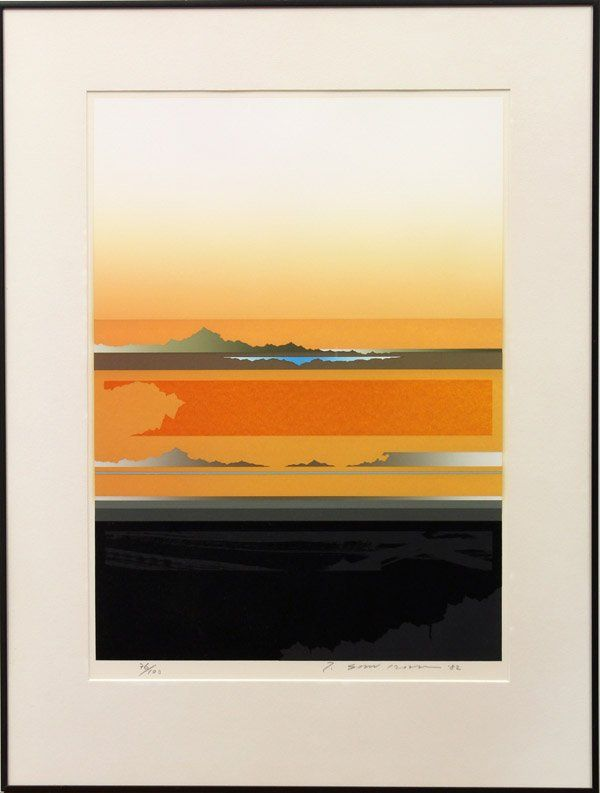 apanese color serigraph, orange landscape, signed T. Sawada (Tetsuro Sawada, 1935-1999), dated 1982, limited edition 76/100, sight: 24''h x 17''w, overall: 32''h x 24.25w;