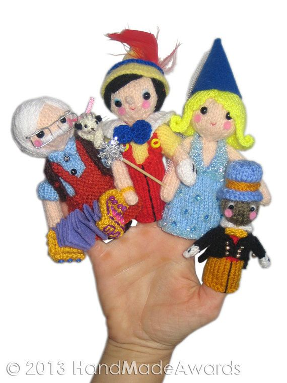 PINOCCHIO Finger Puppets Pdf Email Knit PATTERN by HandMadeAwards