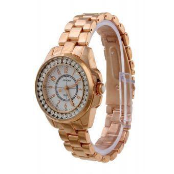 Acero de Sinobi oro de las mujeres inoxidable reloj de la correa 9390