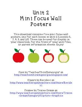 This download contains five mini focus wall posters, one for each lesson in Unit 2 of Houghton Mifflin Harcourt Journeys (Lessons 6, 7, 8, 9, and 10). These can be used for display in your classroom, for the front of your unit files, or parent information sheets.