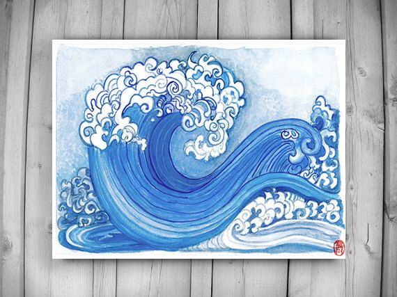 Zen Taoist Water and Waves Painting, original handmade sumi ink and watercolor paintiing, zen decor, spiritual art, japan illustration, tao by ZenBrush on Etsy https://www.etsy.com/ca/listing/265910365/zen-taoist-water-and-waves-painting
