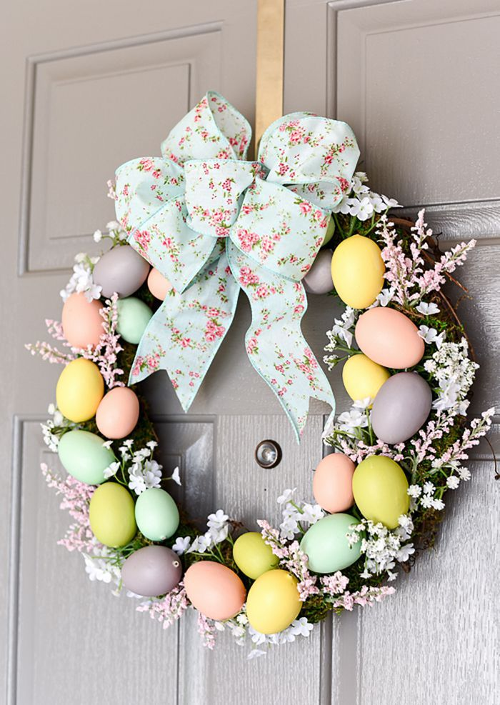 Diy Easter Eggs And Spring Flowers Wreath Easter Wreath Diy Easter Spring Wreath Easter Egg Wreath Diy