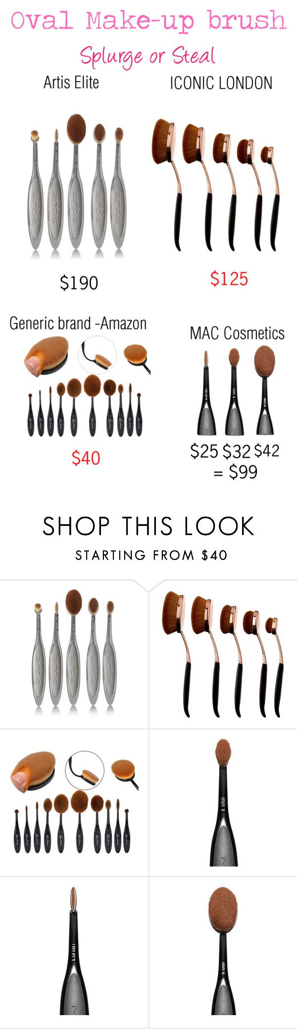 """""""Splurge or Steal: Oval face brushes"""" by krys-imvu ❤ liked on Polyvore featuring beauty, Artis and MAC Cosmetics"""