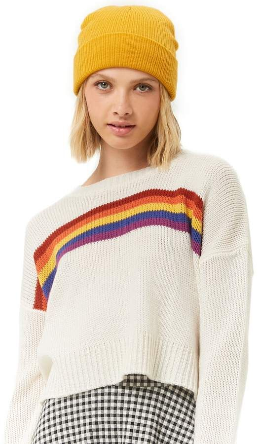 c21989bff6f4 RAINBOW STRIPES PATTERN - Check it out now - Forever 21 Striped Purl Knit  Sweater #women #womensfashion #forever21