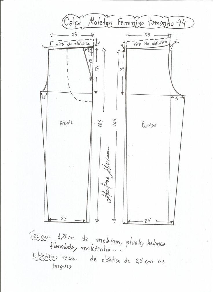 Esquema de modelagem de calça de moletom feminina tamanho 44.