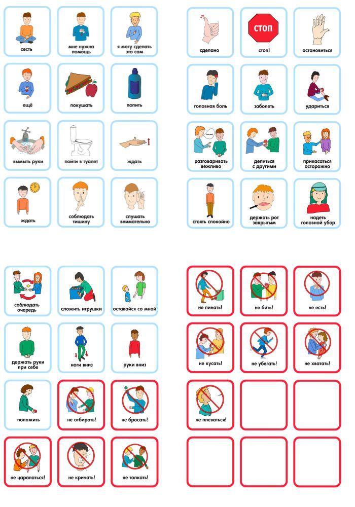 Коммуникационные карточки - важный инструмент в общении с невербальными детьми. В данном наборе вы найдет запрещающие карточки, которые помогают предотвратить или остановить нежелательное поведение, а также карточки, характеризующие различные часто используемые действия.