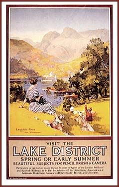 Reproduction of c. 1920s British Railway poster that features the Kodak Girl in her striped dress.