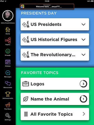 QuizUp Main Menu: screenshots, UI