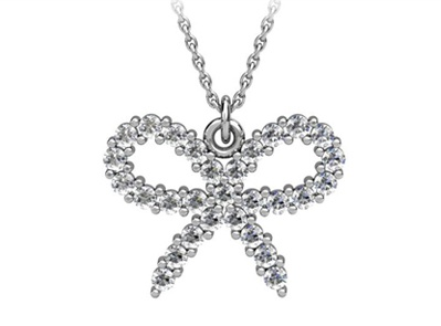 Diamond bow, white gold pendant necklace by T & T Jewellers.