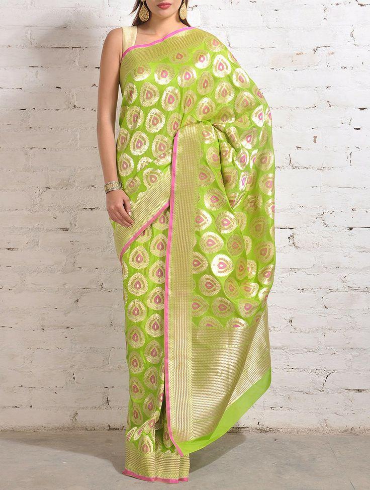 Mint Green-Pink Banarasi Silk Saree   Banarasi Silk   Pinterest