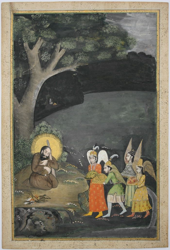 Sufi saint Sultan Ibrahim bin Adham (who relied on meditation and solitude d.776-77) visited by angels bearing gifts of food and drink. Provincial Mughal at Awadh,  India 18th C.. Opaque watercolor with gold on wasli.