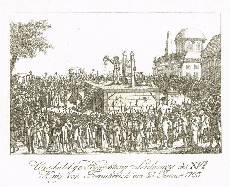 Gravure anonyme (estampe populaire allemande) représentant l'exécution de Louis XVI le 21 janvier 1793 - De Vinck 5177